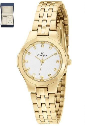 kit de relógio champion analógico feminino cn25458w dourado