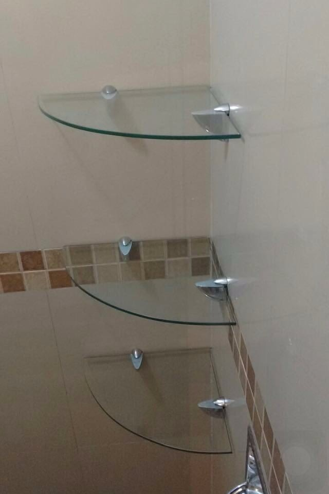 Kit de repisas de cristal para ba o 1 en for Espejo con repisa para bano