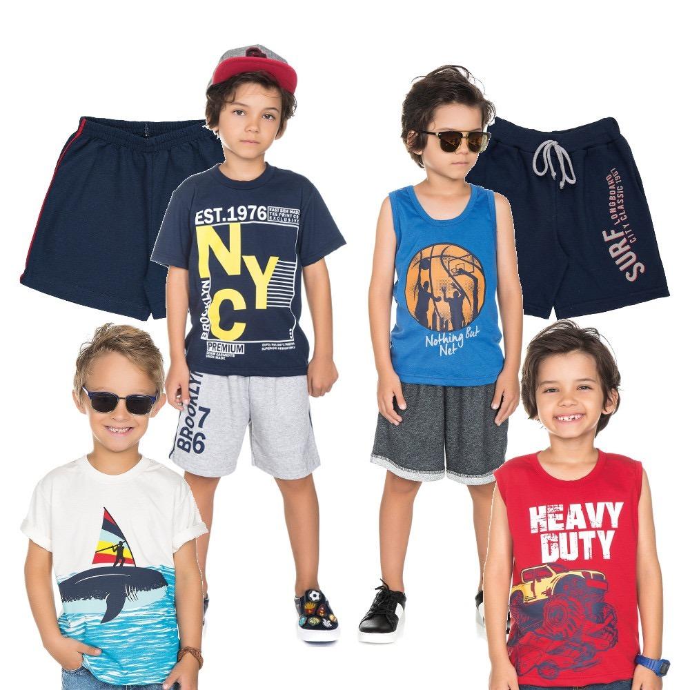 d14e086c9 Kit De Roupas Infantis Para Menino De 4-6-8-10 Anos (verão) - R  136 ...