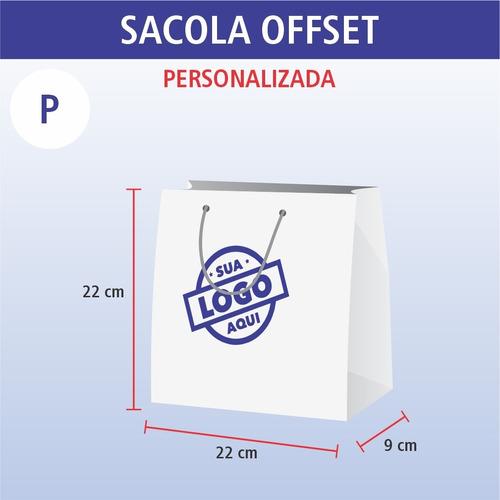 kit de sacolas personalizadas de papel tam p - 100 unidades