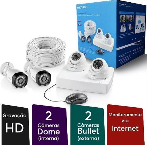 kit de segurança 2 câmeras bullet 2 câmeras dome 12 led