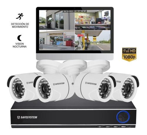 kit de seguridad 4 cámaras cctv + dvr 4ch safesystem gtía