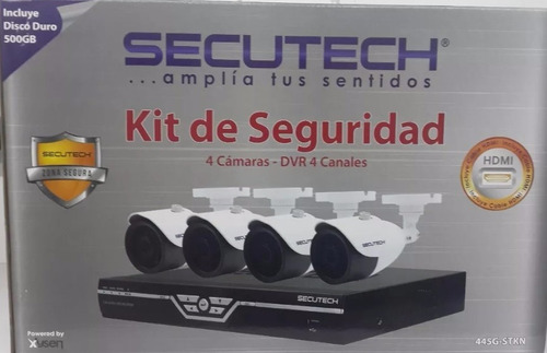 kit de seguridad secutech 4 camaras dvr 4canales disco 500gb
