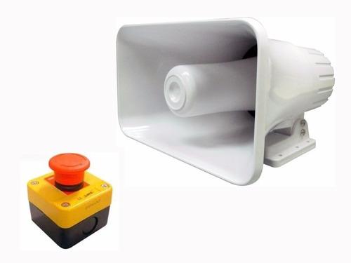 kit de seguridad sirena alarma y pulsador de emergencia 220v