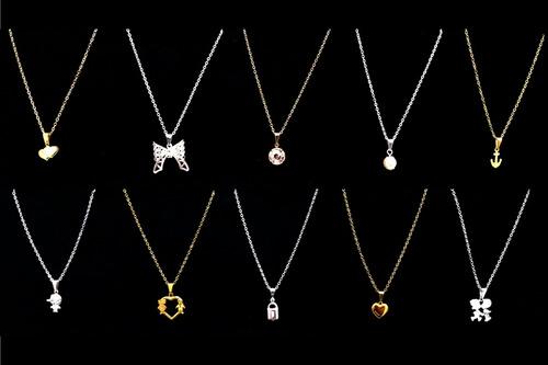 kit de semi joias femininas correntinhas banhadas 15 peças