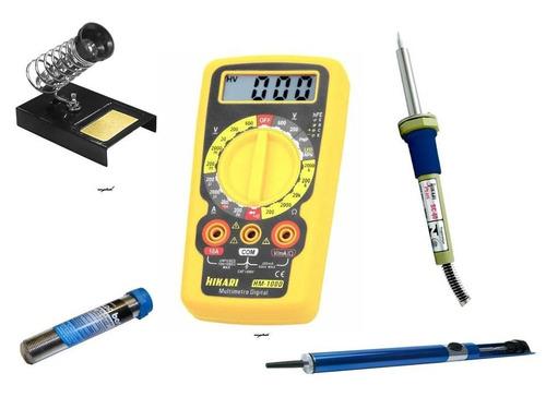 kit de soldagem multímetro, ferro, suporte, sugador e solda