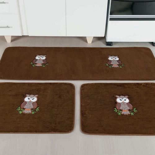 kit de tapetes marrom cozinha coruja antiderrapante 03 peças