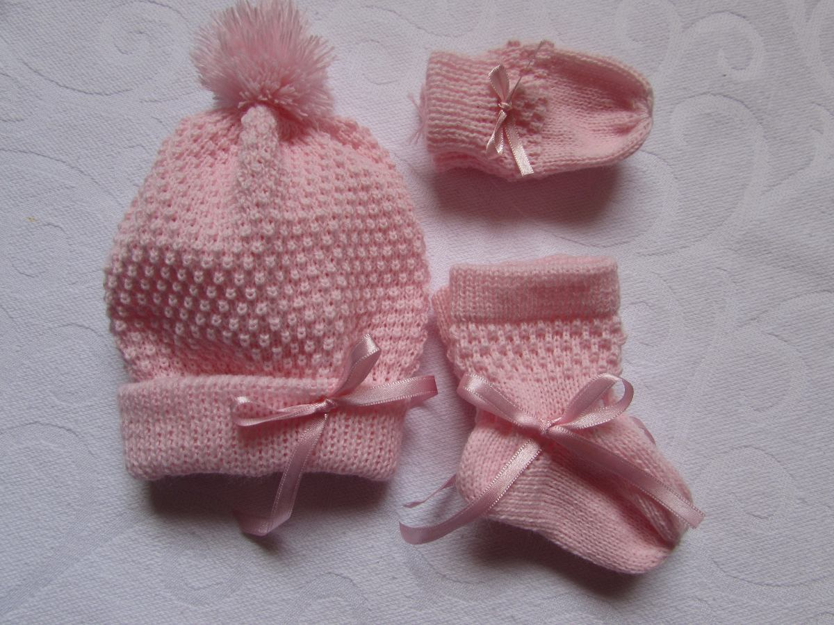 kit de touca sapatinho luvas para bebê rn. Carregando zoom. 19b4dd50978