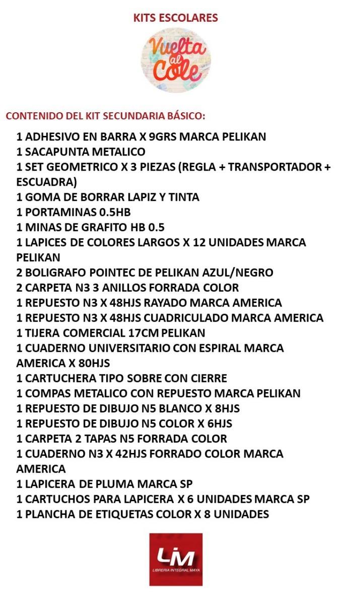 6c3a840e54fa4 Kit De Útiles Escolares Secundaria Básico -   1.059,45 en Mercado Libre