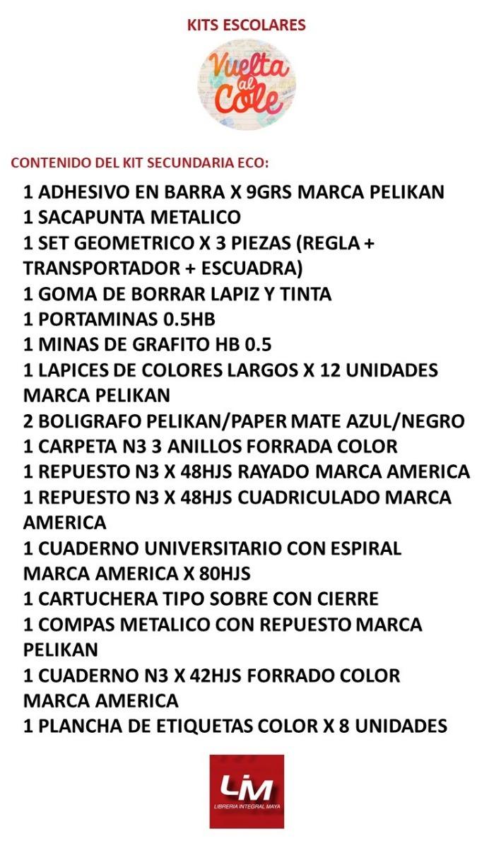 c24aa3f334c87 Kit De Útiles Escolares Secundaria Eco -   572,30 en Mercado Libre
