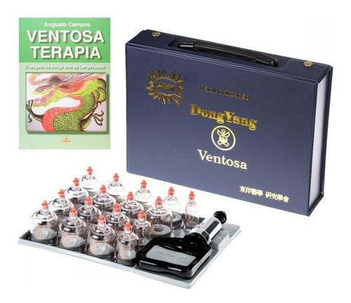 kit de ventosa 17 copos dong yang c/ livro ventosaterapia