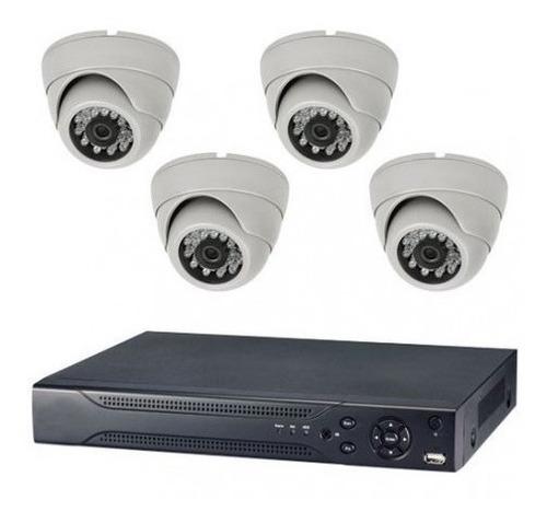 kit de vigilancia dvr + 4 domos hd + 4 balun + fuentes + cab