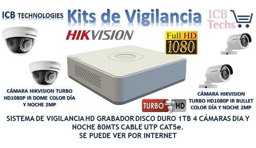 kit de vigilancia hikvision 4 camaras hd 1080p 1tb