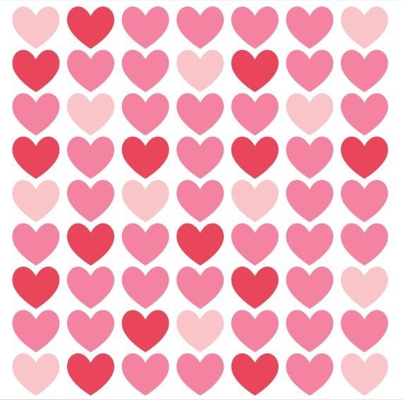 kit de vinilo corazones 02 63 corazones rojos y rosas de 6cm