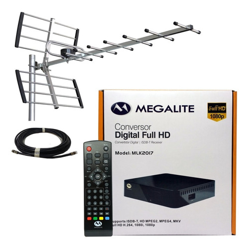 kit decodificador tda hd + antena yagi + 10mts cable mlk2017