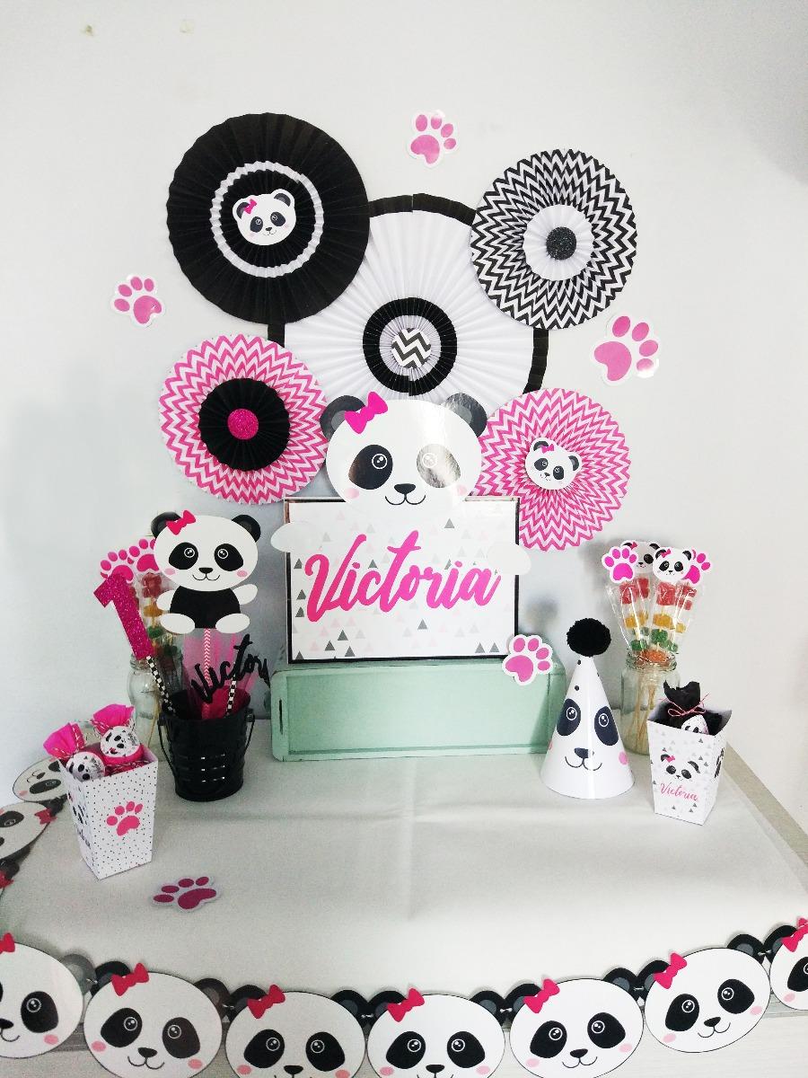 Kit Decoracion Cumpleanos Oso Panda Roseta Bonete Guirnalda