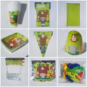 Kit Decoración Fiesta Infantil Animales De La Selva Zafari