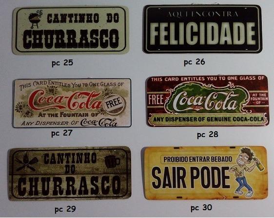 Kit Decoração Barzinho Pingometro 2 Placas De Carro Frases