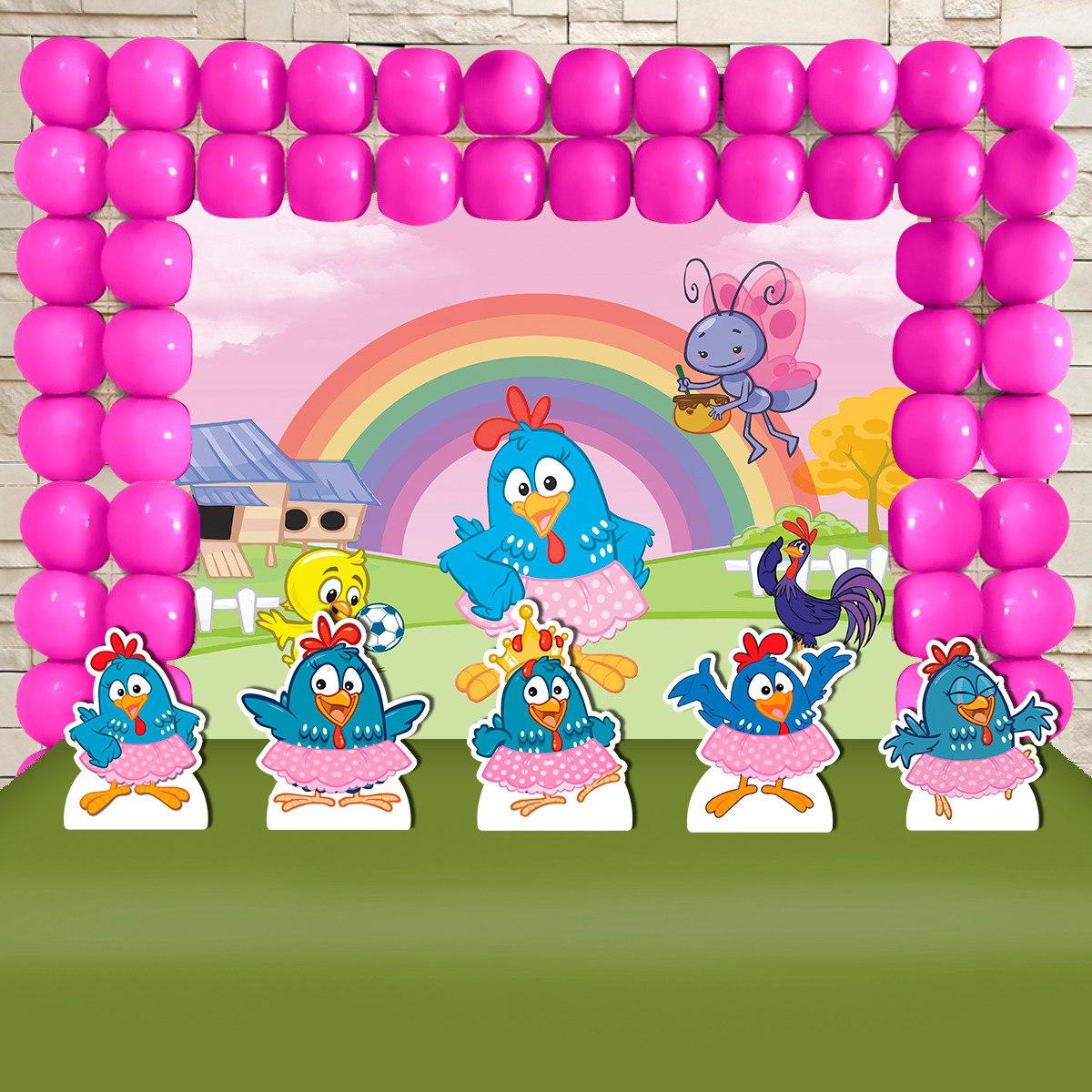Kit Decoração Festa Infantil Galinha Pintadinha Rosa R 9490 Em