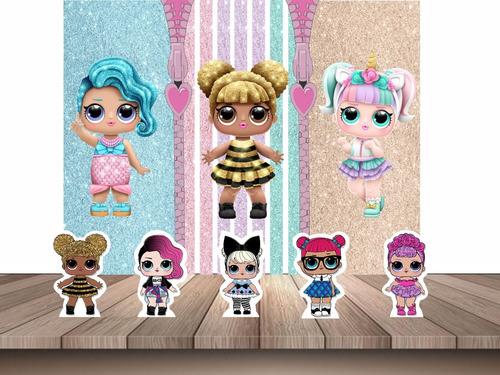 kit decoração festa infantil painel + displays lol