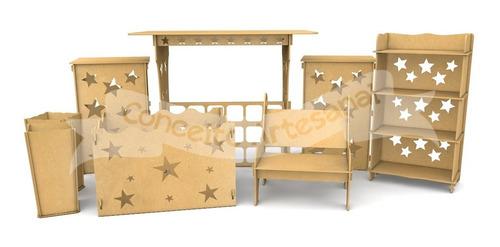 kit decoração festa mdf provençal 8 peças mesa infantil cubo