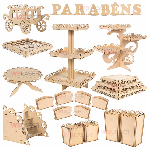 kit decoração festa provençal mesa infantil mdf aniversario