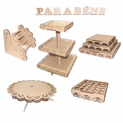 kit decoração festa provençal mesa infantil mdf parabéns m6