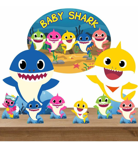 kit decoração totem display 8 peças e elipse mdf baby shark