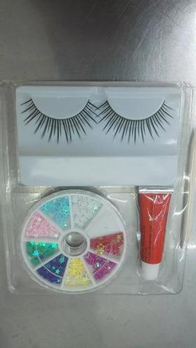 kit decorador para uñas + pestañas postizas  entrego ya!