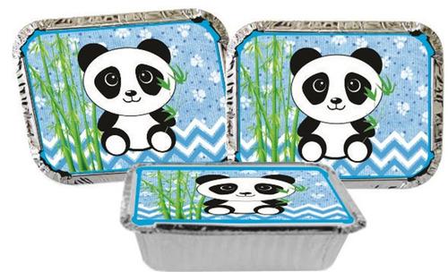 kit decorativo infantil panda menino azul 160 peças