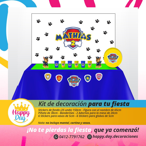 kit decorativo personalizado para fiestas infantiles