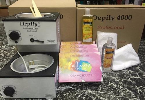 kit depilación:fundidor 4kl+cera+óleo+loción+espátulas+otros