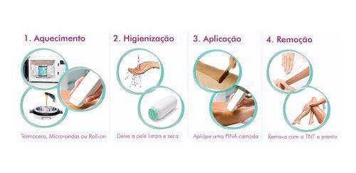 kit depilador elétrico depilação + 10 ceras refil mel