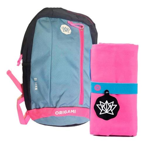 kit deportivo mochila 15 lts + toallon liso microfibra 1,60
