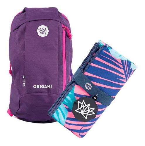 kit deportivo: mochila de 10 lts + toallon microfibra 1,60