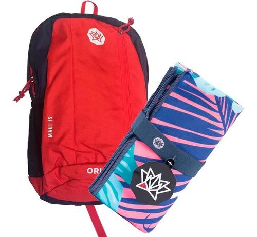 kit deportivo: mochila de 15 lts + toallon microfibra 1,60