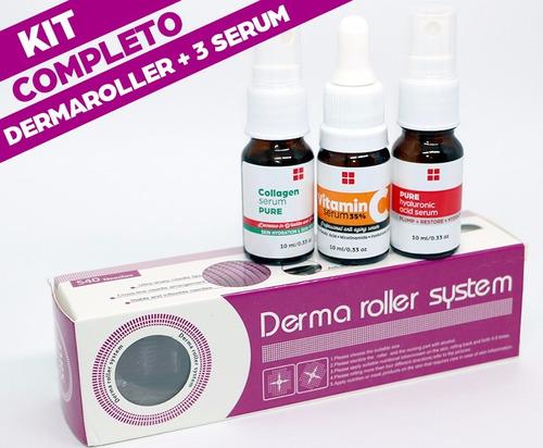 kit dermaroller + vitamina c +  acido hialuronico + colágeno