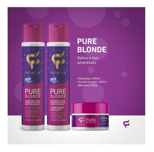 kit desamarelador cabelos loiros pure blonde fashion