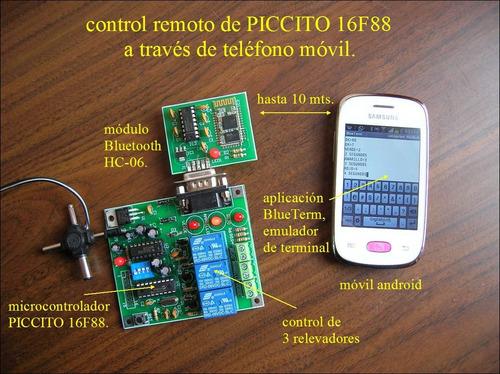 kit desarrollo bluetooth hc-06 + piccito 16f88 3 relevadores
