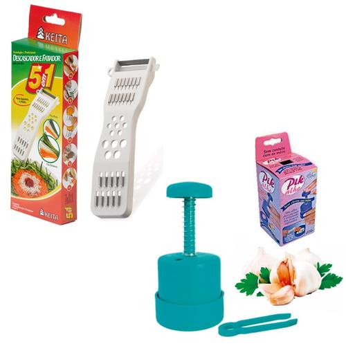 kit descascador fatiador de legumes + picador de alho