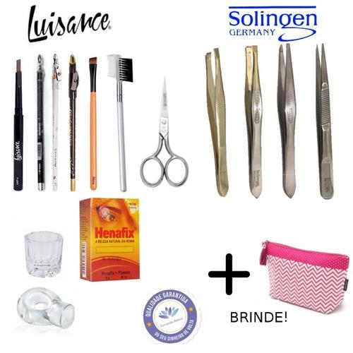 kit designer de sobrancelhas profissional com henna