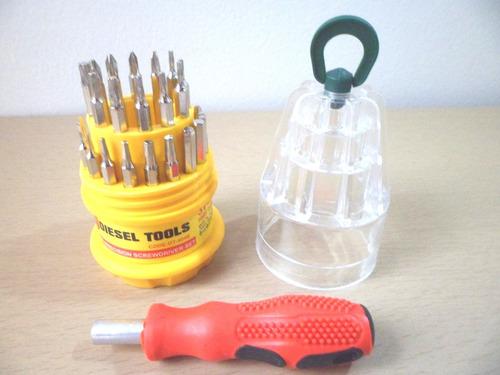 kit destornillador con 30 puntas intercambiables en acero
