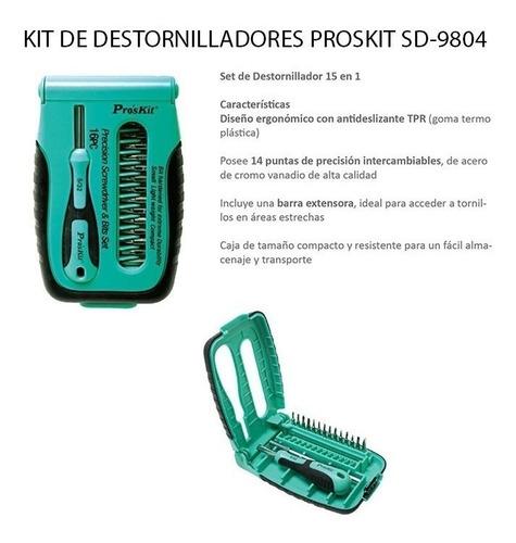 kit destornillador proskit 15 en 1 + extension torx philips
