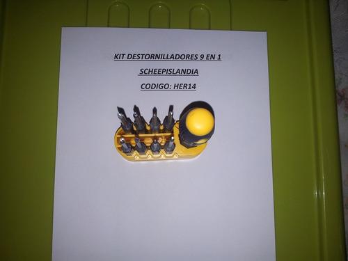 kit destornilladores 9 en 1 her14