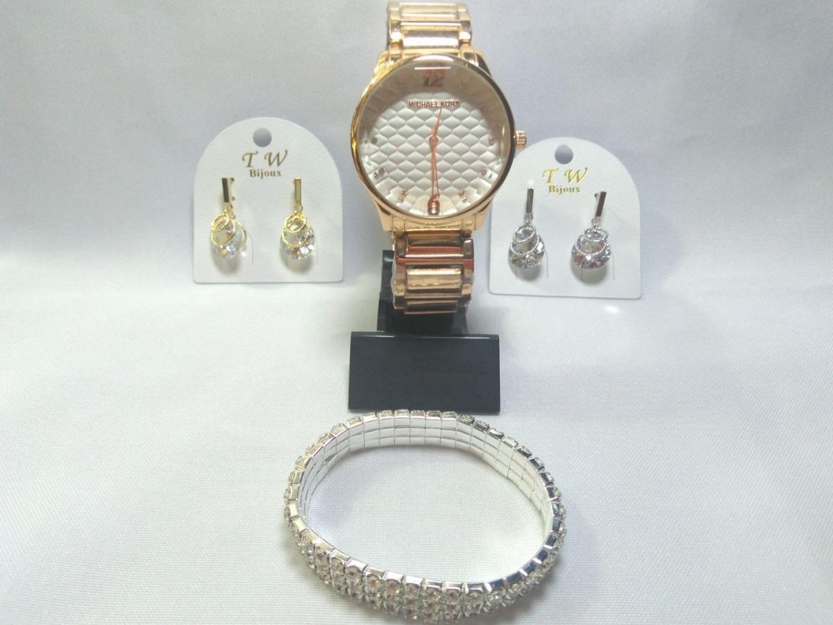 kit dia dos namorado relógio dourado feminino com bijuterias. Carregando  zoom. 917332e501
