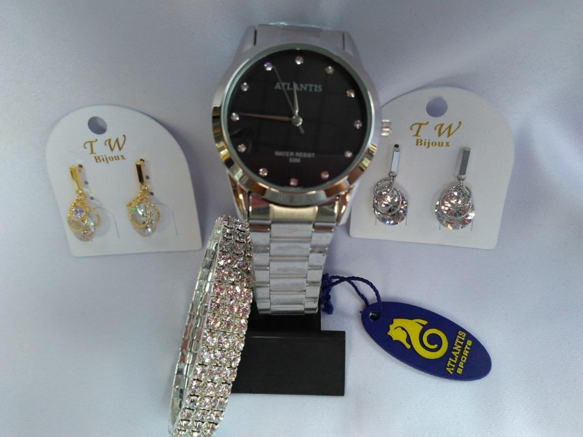 300238a0cb2 Kit Dia Dos Namorados Relógio Atlantis Com Bijuterias - R  149