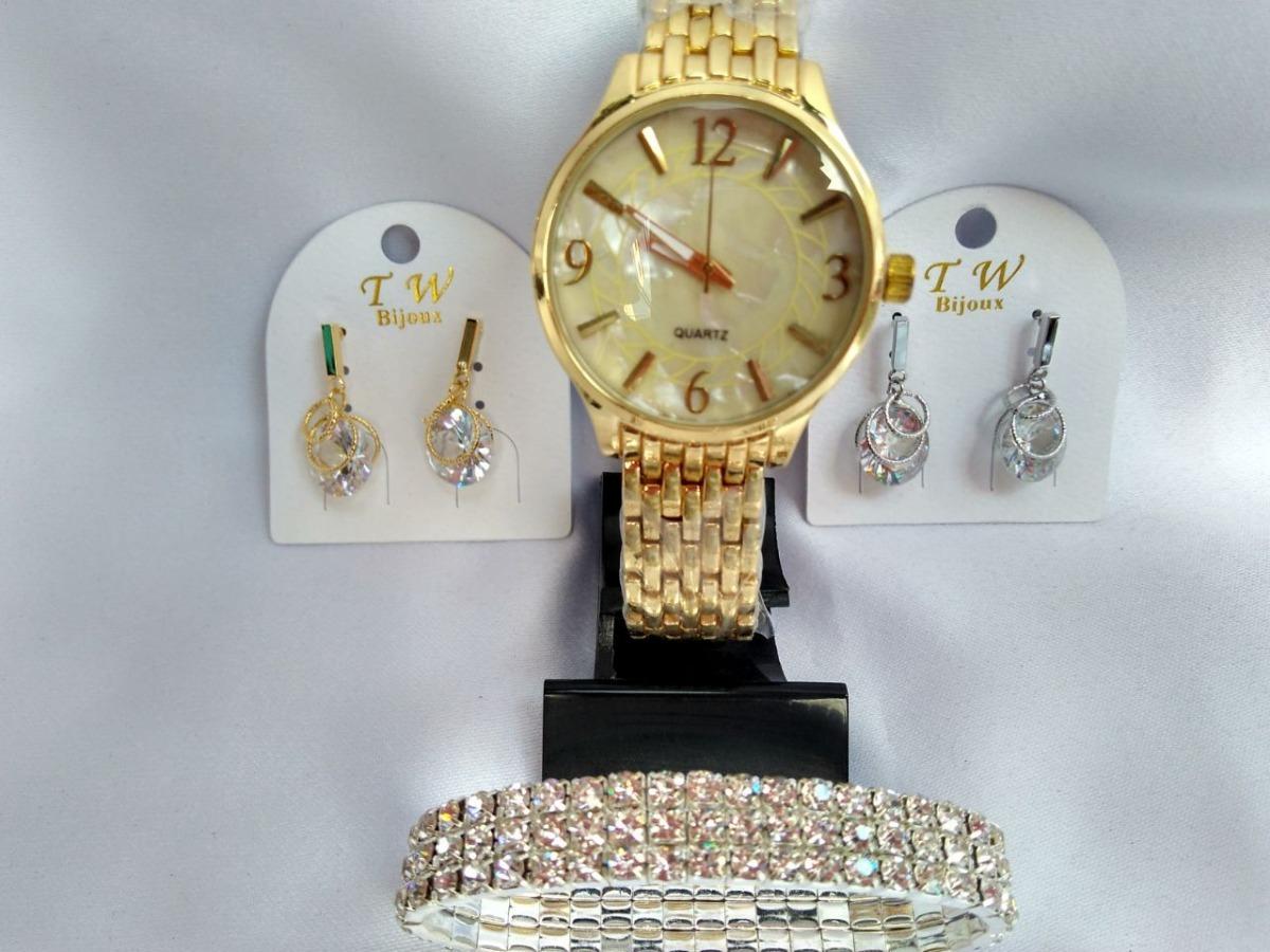 86c8a46f568 kit dia dos namorados relógio dourado com bijuterias. Carregando zoom.