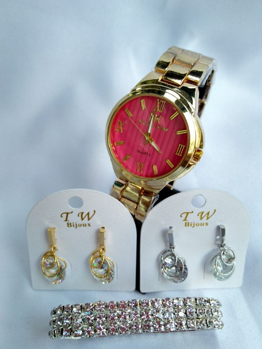 kit dia dos namorados relógio dourado rosa com bijuterias. Carregando zoom. 5f6eab663e