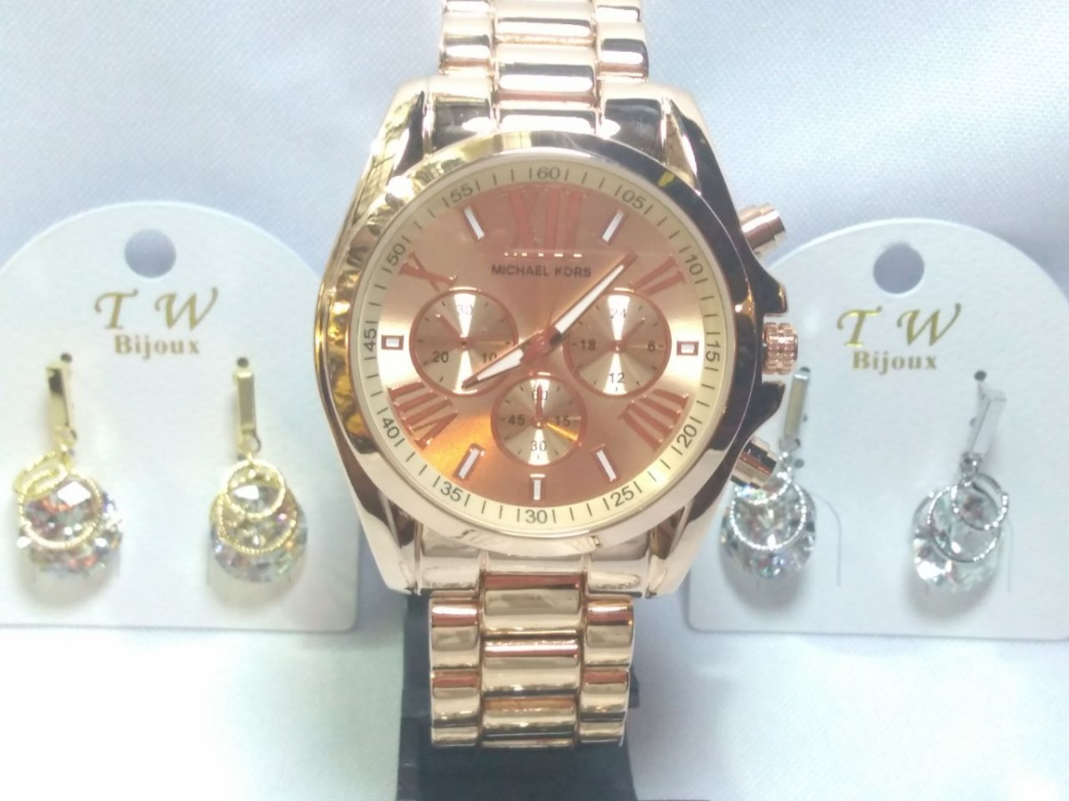 Kit Dia Dos Namorados Relógio Rose Com Bijuterias - R  89,99 em ... 0593fd0679