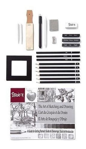 kit dibujo 22 pzas carboncillo lapices bosquejo arte grafito